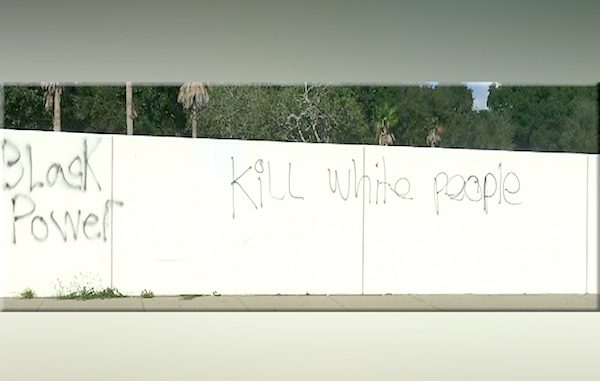 Hate graffiti found on wall in Brandon, Florida.