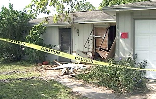 Suspected drunk driver with no driver's license crashed her car into a house in Palm Bay, Florida.