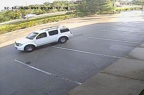 Suspect fled the scene driving a white Nissan Armada or Pathfinder.
