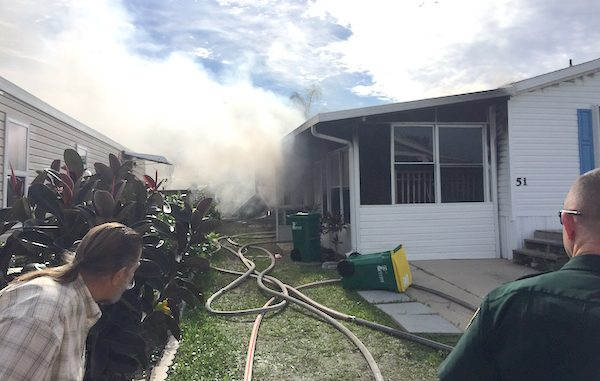 Mobile home fire in Micco.
