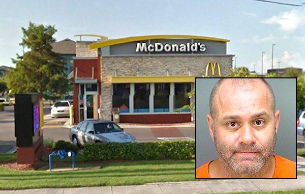 Man arrested after kicking McDonald's employee.