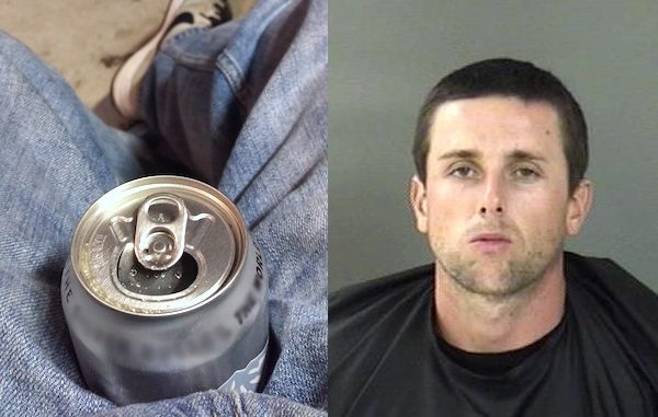 Vero Beach Police stop man with Pabst Blue Ribbon open beer can between his legs.