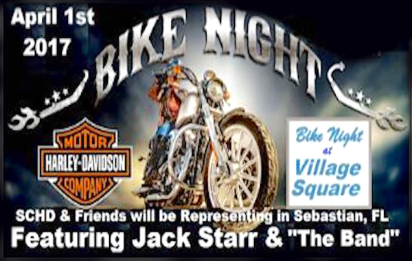 Bike Night at Village Square on April 1st in Sebastian.