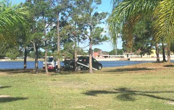 A vehicle belonging to the deceased was towed near the lake in Barefoot Bay.