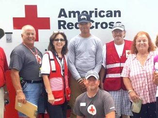 From left to right: Bill Young (Red Cross), Joe Kaufhold (Red Cross), Carol Hammack (Red Cross), Robert Williams (US Air Force), Mike Whitcomb (Red Cross), Kathy Planinsek (Barefoot Bay), Ann Manzo (Barefoot Bay), and Mike McElrath (Red Cross)