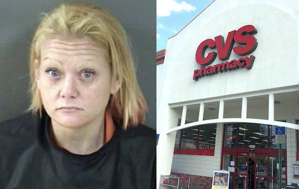Vero Beach woman runs out of CVS Pharmacy store with a basket full of cosmetics and jewelry.