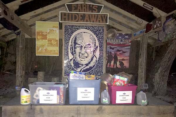 The stage at Earl's Hideaway Lounge in Sebastian was used as a drop-off location for people to donate supplies for Hurricane Harvey Relief.