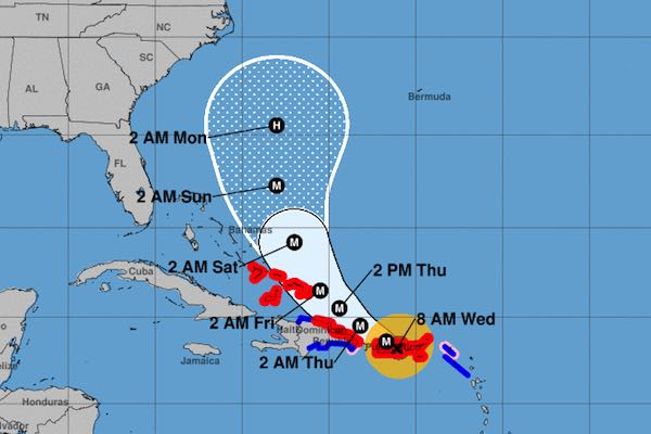 NOAA's cone shows Hurricane Maria farther away from Florida.