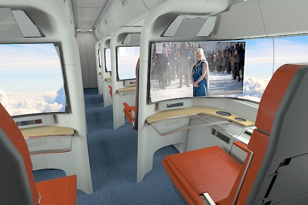 Interior concept for passengers to watch TV or use their electronics by Argodesign.