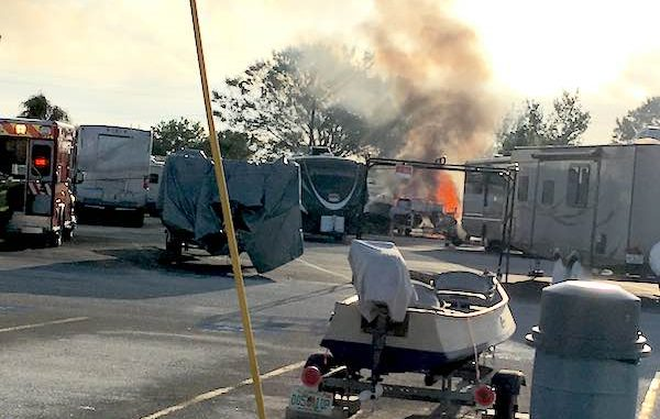 2 boats catch fire in a storage lot off Micco Road near Barefoot Bay.