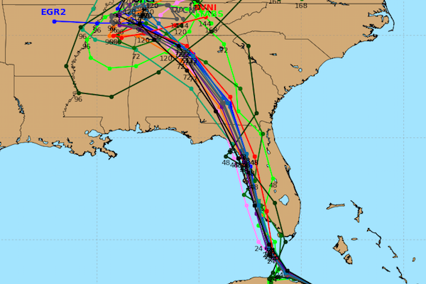 Spaghetti models for Hurricane Irma, both GFS and Euro, agree on a track taking the storm up the west coast of Florida.