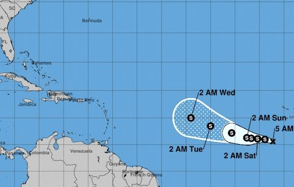 Current track for Tropical Depression Fourteen in the Atlantic.