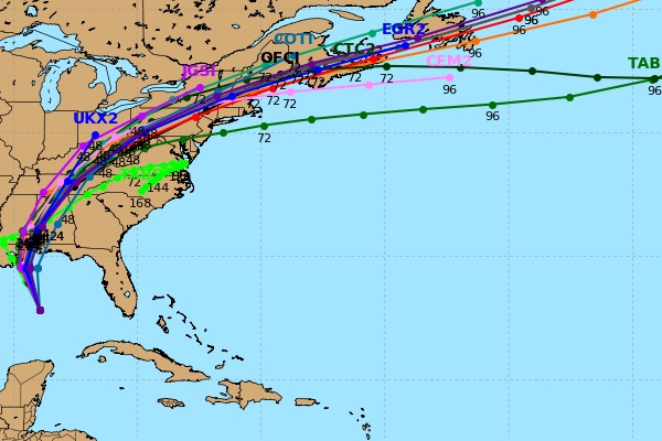 Latest Hurricane Nate spaghetti models by European and GFS computer models.