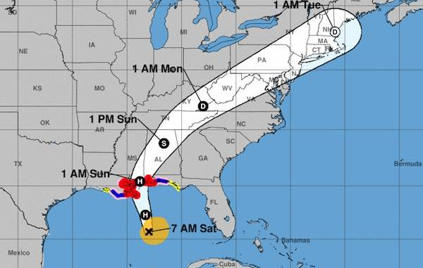 Latest hurricane track shows Hurricane Nate making landfall near New Orleans.
