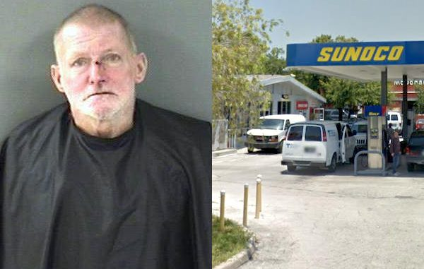 Man seen smoking crack and drinking beer in front of the Sunoco gas station in Vero Beach.