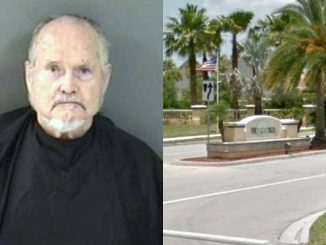 A man threatens maintenance workers at Woodfield Club House in Vero Beach.