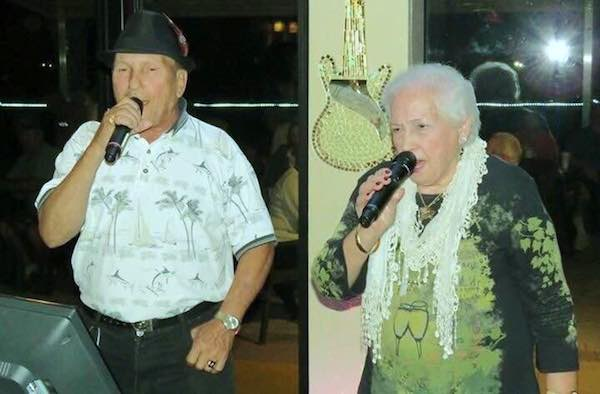 Gregorio Maugeri and Sebastiana Maugeri, are known for singing karaoke together on Tuesdays at the Barefoot Bay Lounge and Thursdays at the Tiki Bar & Grill.