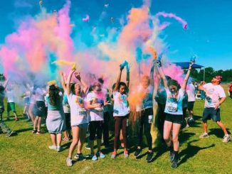 Sebastian River Middle School students participate in its 5k choir color run.