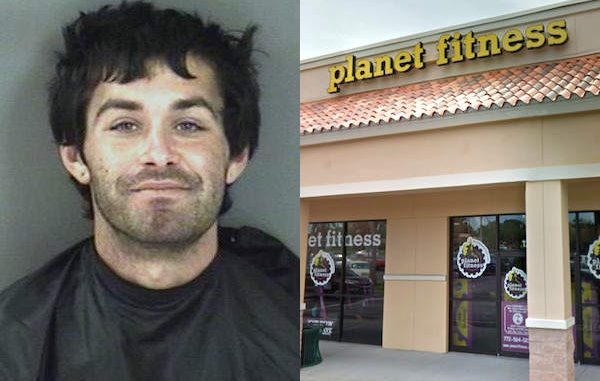 Naked name on heroin walks around plaza in front of Planet Fitness in Vero Beach.