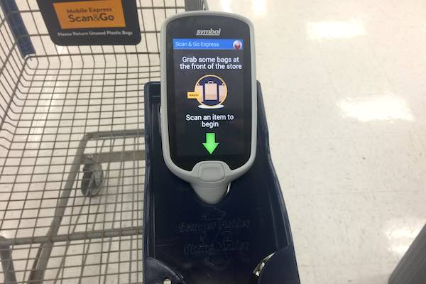 Shopping carts at the Walmart in Sebastian and now equipped to hold the Scan & Go handheld devices. (Photo: Andy Hodges)