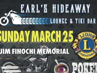 Earl's Hideaway Lounge & Tiki Bar will be hosting a Memorial Bike 4 Sight Poker Run in honor of Sebastian Lions Club member Jim Finochi.