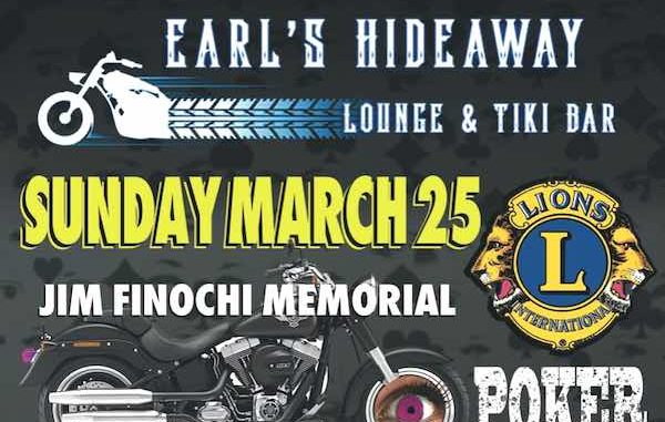Earl's Hideaway Lounge & Tiki Bar will be hosting a Memorial Bike 4 Sight Poker Run in honor of Sebastian Lions Club member Jim Finochi.