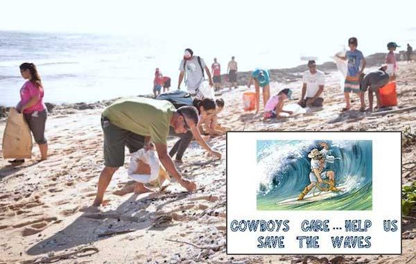 "The ""Cowboys Care ... Help Us Save The Waves"" Beach Cleanup project."