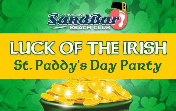 Luck of the Irish Party for St. Patrick's Day at Captain Hiram's Sandbar.
