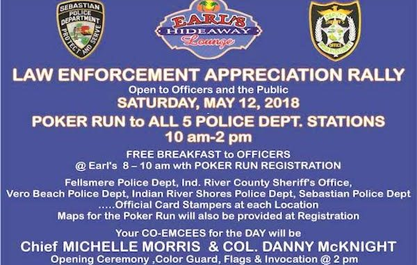 Earl's Hideaway Lounge hosting Law Enforcement Appreciation Rally and Poker Run in Sebastian.