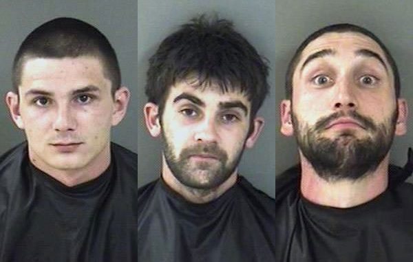 Jeremiah Calaway Napier, Donald John Scali, and Joseph Morgan Saucier were charged with Grand Theft.