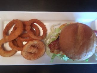 This was Ruby Tuesday's bacon cheeseburger combination with onion rings for $8.99.