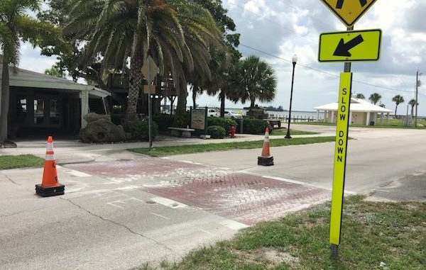 Crosswalks along Indian River Drive in Sebastian, Florida.