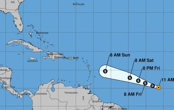Tropical Depression Two advisory from National Hurricane Center.