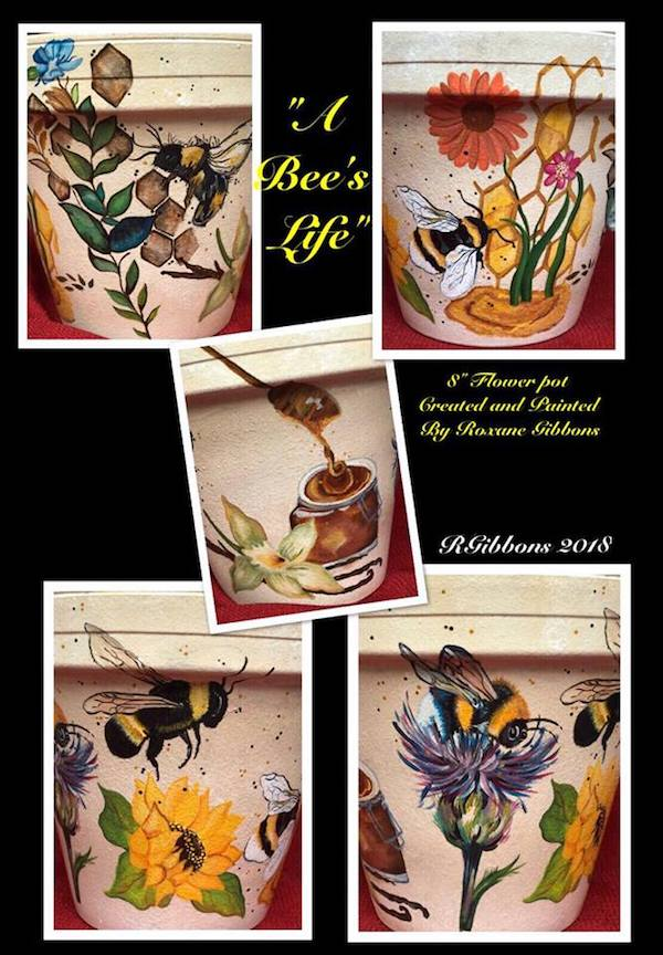 """A Bee's Life"" by Roxane Gibbons. 8"" hand painted flower pot/drip pan."