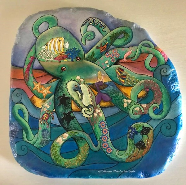 """The Wonderful World of Sea Life"" by Theresa K. Tyler. 13""x13"" hand painted original artwork on santorini stone."