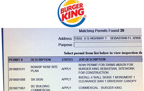 Burger King applies for construction permits in Roseland, Florida.