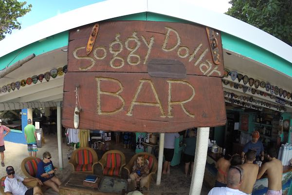 The famous Soggy Dollar Bar on Jost van Dyke. This is where the Painkiller drink was invented. It's right on the beach!