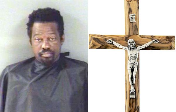 A man was arrested after stealing a crucifix from a funeral home in Vero Beach, Florida.