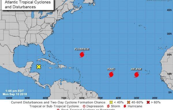 Hurricane Florence, Hurricane Isaac, Hurricane Helene track in Atlantic Ocean.