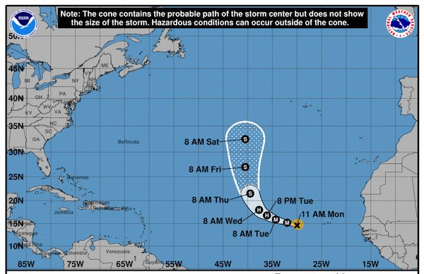 Hurricane Helene cone tracking.