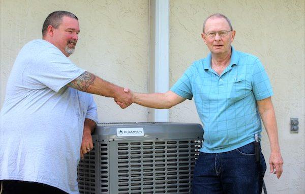 Man receives free air conditioning unit in Sebastian, Florida.