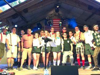 The Spazmatics with the Captain Hiram's staff in Sebastian, Florida.