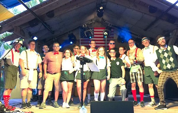 The Spazmatics with the Captain Hiram's staff in Sebastian, Florida.