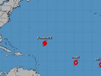 Hurricane Florence, Tropical Storm Isaac, and Tropical Storm Helene all tracking away from Florida.