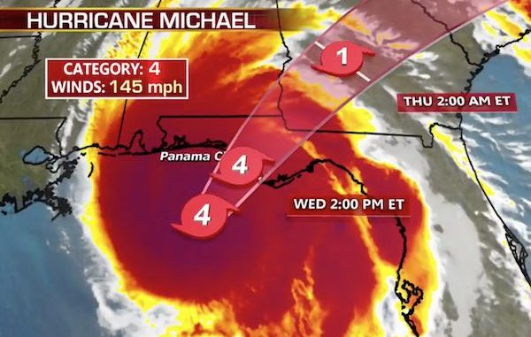 Hurricane Michael making landfall towards Tallahassee, Florida.