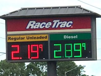 A RaceTrac gas station on Malabar Road in Palm Bay is selling gas about 55 cents cheaper than Sebastian, Florida.