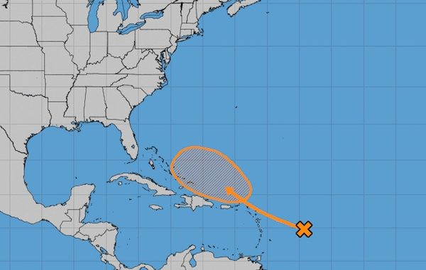 Late season tropical wave strengthening near Lesser Antilles
