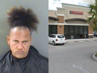 A man causes a disturbance at Chipotle in Vero Beach, Florida.