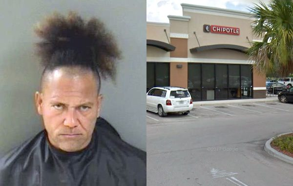A man causes a disturbance at Chipotle in Vero Beach, Florida.