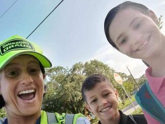 Sebastian crossing guard Tinamarie Ioffredo (left) has been nominated for the 2018 Florida School Crossing Guard of the Year award.